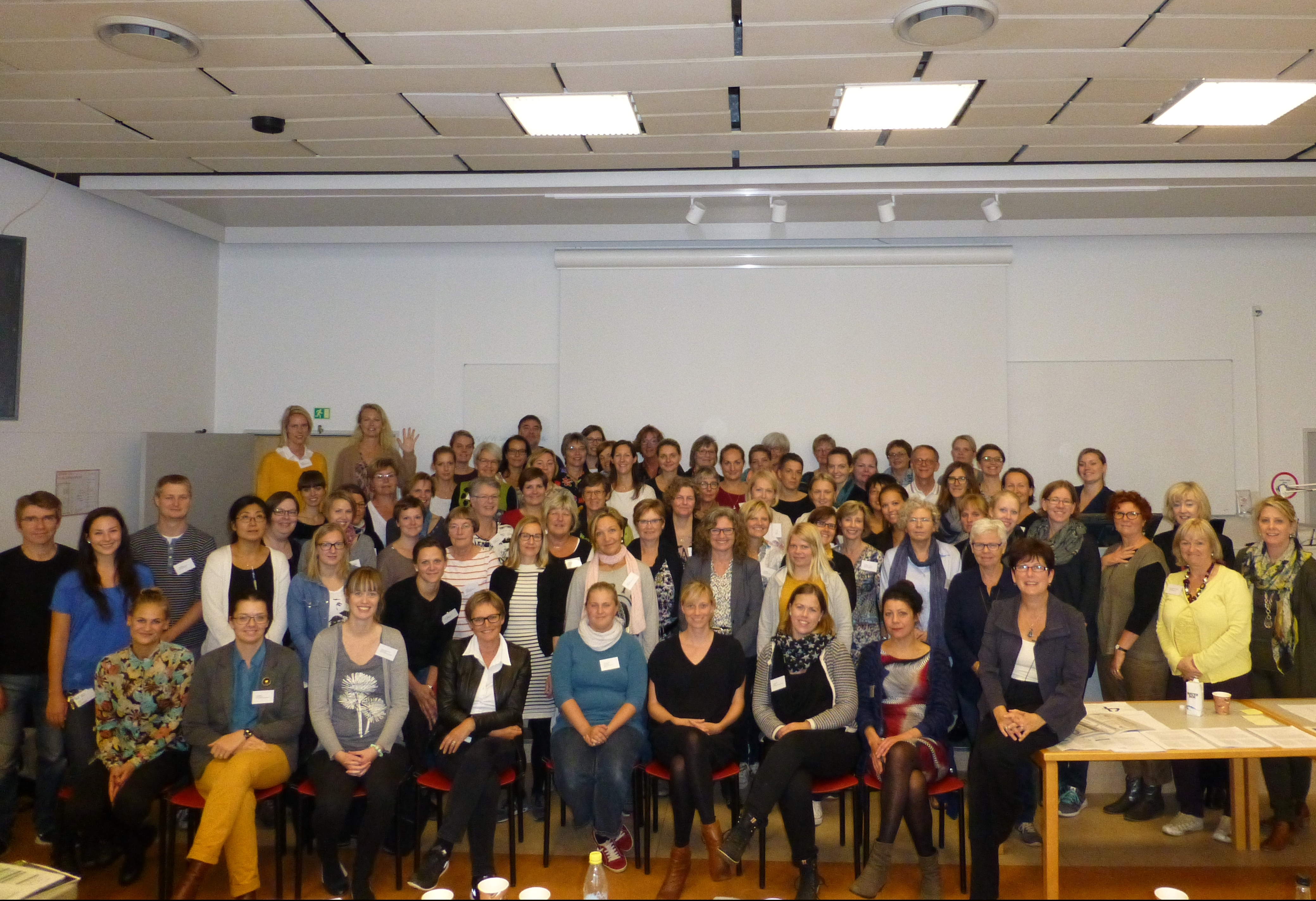Sheila MacDonald with a group of colleagues at a speech language pathology conference in Copenhagen, Denmark