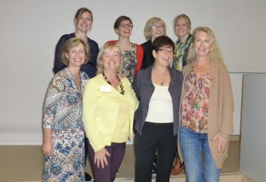 Sheila MacDonald standing with colleagues at a speech language pathology conference in Copenhagen, Denmark.